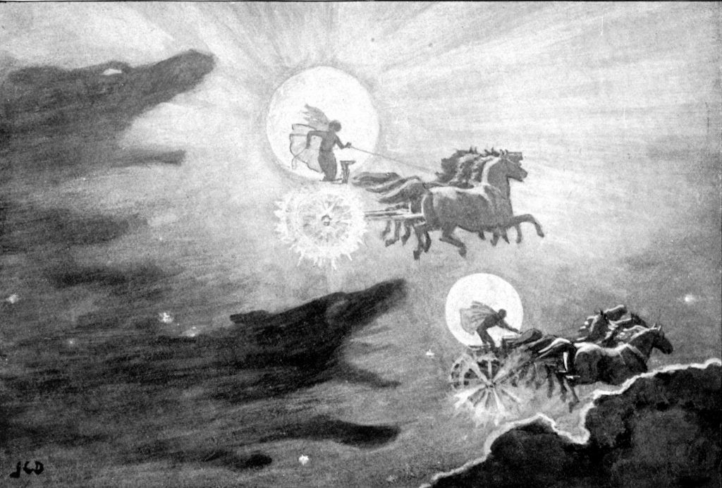 Viking creation - The Wolves Pursuing Sol and Mani by J. C. Dollman